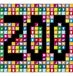 Zoo colored squares with silhouettes of animals in vector