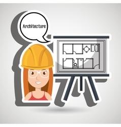 Woman architecture plans helmet vector
