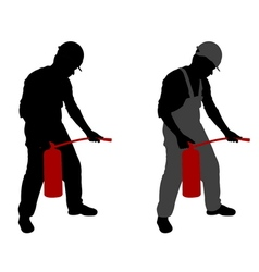 Man with fire extinguisher vector