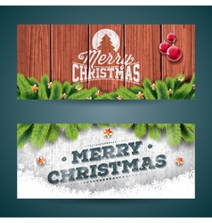 Merry Christmas banner on vintage wood background vector image