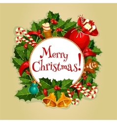 Merry Christmas round poster with xmas decoration vector image