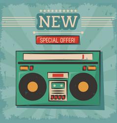 vintage technology stereo cassette music vector image