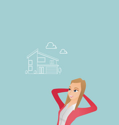 Woman dreaming about buying a new house vector