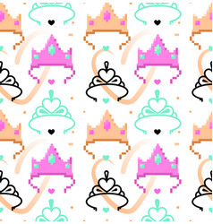 woman symbols seamless pattern tiara crown vector image