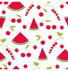 Seamless pattern watermelon cherry raspberry curra vector