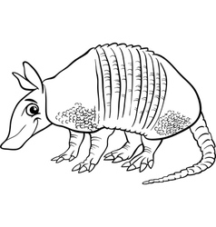 Armadillo animal cartoon coloring page vector