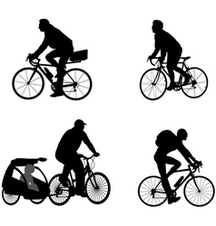 Bicyclists silhouettes vector