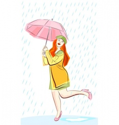 rain and woman vector image