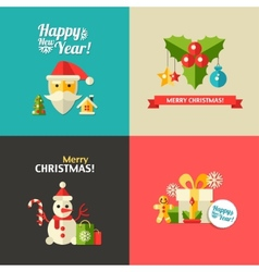 Christmas and happy new year flat design postcar vector