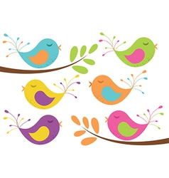 Cute birds and branches vector