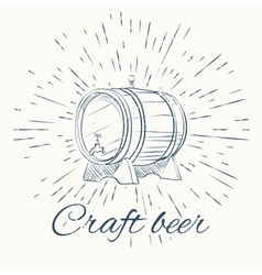 Beer barrel and vintage sun burst frame craft vector