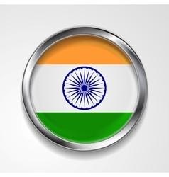 Republic of india metal button flag vector