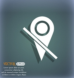Map pointer icon sign on the blue-green abstract vector