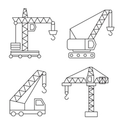 Construction icons cranes thin line vector
