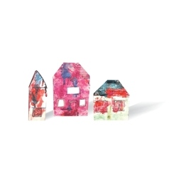 Houses objects isolate white and shadow vector