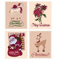 Vintage christmas stamps raindeer santa vector