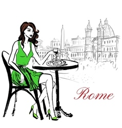 Woman sitting in cafe vector