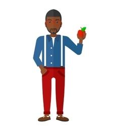Man holding apple vector