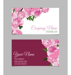 Beautiful floral business cards vector