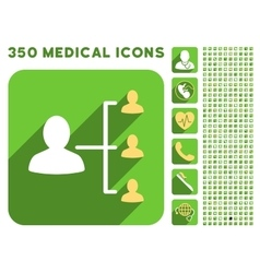 Patient relations icon and medical longshadow icon vector