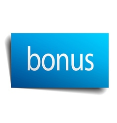 Bonus blue square isolated paper sign on white vector