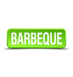 Barbeque green 3d realistic square isolated button vector