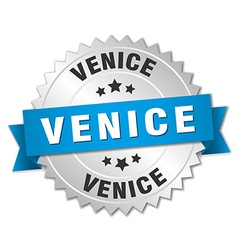 Venice round silver badge with blue ribbon vector