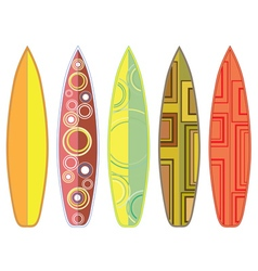 Surfing boards set vector