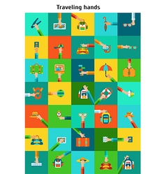 Set of traveling hands vector image