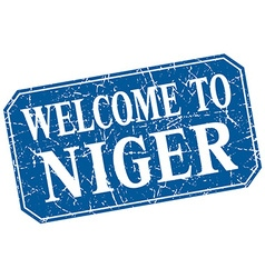Welcome to niger blue square grunge stamp vector