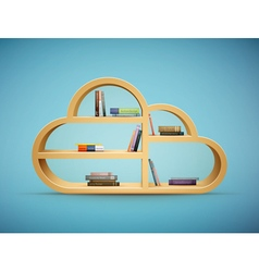 Cloud shelf with books vector