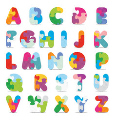 Alphabet written with puzzle vector