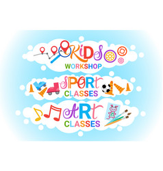 Art classes for kids logo workshop creative vector