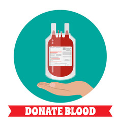 Blood bag and hand of donor vector