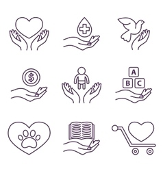 Charity Line Logos and Signs Volunteer vector image