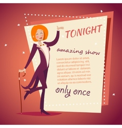 Circus show host lady girl in suit with cane icon vector