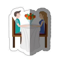 Couple love sitting elegant table shadow vector