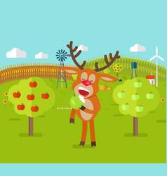 Deer in garden eats apple cute reindeer snack vector