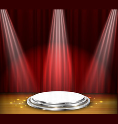 Empty stage with red curtain and spotlight vector