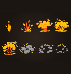 Front cartoon boom explosion effect with vector