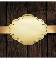 golden label on wooden vector image