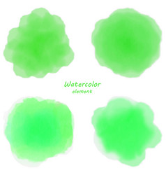 Green watercolor blotch set of green watercolor vector