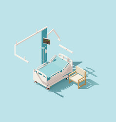 Isometric low poly hospital bed vector