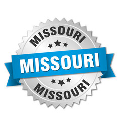 Missouri round silver badge with blue ribbon vector