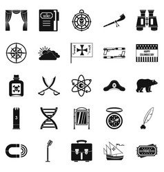 Pirates icons set simple style vector