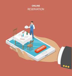 Restaurant online booking flat isometric concept vector