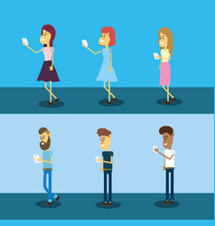 Set people with smarphone social connection vector