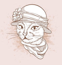 sketch of elegant cat vector image