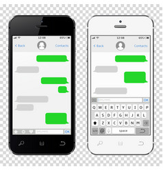 smartphones with messaging sms app template vector image