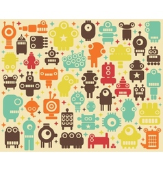 Space robots colorful background vector image